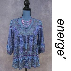 NWT Energe World Wear Peasant Tunic Blue Size S